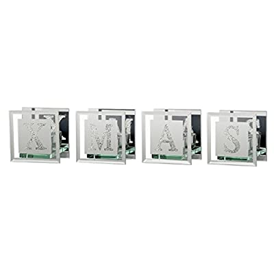 4 Piece Diamante Tealight Candle Holder Set Glass Mirrored Home Ornament Gift
