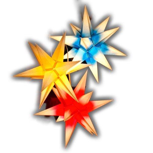 3 Sterne Sternschmiede (Art.Nr.69) Innen 1x rot, 1x blau, 1x gelb aussen weiss) inkl. Netzteil, 3-fach-Verteiler, Fenster-Clip und Distanz-Stab, nur für den Innenbereich
