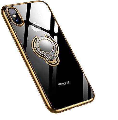 jaligel Funda para iPhone XS Max con soporte para anillo giratorio 360° (trabajar con soporte para coche, soporte magnético) Funda de silicona TPU transparente antiarañazos Cover - Oro