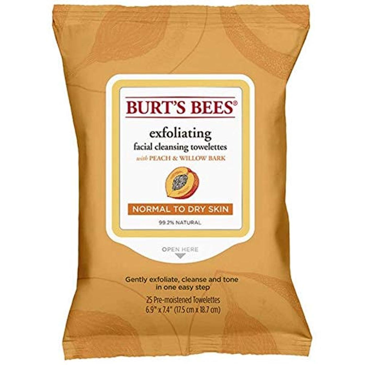 発疹トチの実の木ペア[Burt's Bees ] バーツビー洗顔ペーパータオルの桃&樹皮のX25 - Burt's Bees Facial Cleansing Towelettes Peach & Bark x25 [並行輸入品]