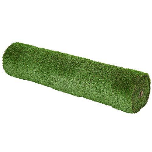 Outsunny Tappeto Erboso Sintetico 4x1m Erba 20mm, Finto Prato Verde Anti-UV Atossico e Drenante per Giardino e Cortile