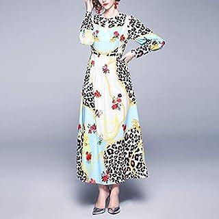 Mdhnfhdjd Fashion Leopard Print Round Neck Long-sleeved Big Swing Dress (Color:Light blue Size:M) (Color : Light blue, Size : One Size)