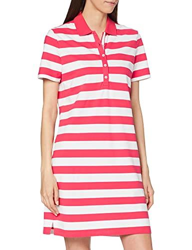 BRAX Damen Style Gweneth Dresses Piqué Stripes Baumwollkleid Polokragen Gestreift Kleid, Summer, Large (Herstellergröße: 40)