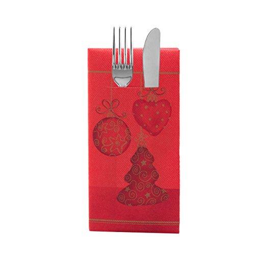 Sovie Home Besteckservietten Tiffany Rot | Linclass® Airlaid | stoffähnliche Servietten Weihnachten |40x40cm,12 Stück