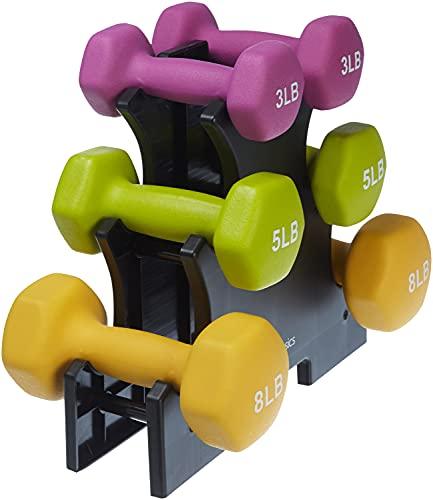 Amazon Basics Neoprene Coated Dumbbell Hand Weight Set, 32-Pound Set with Stand, Multicolor