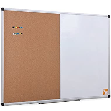 XBoard 36 x 24 Inch Magnetic Dry Erase/Cork Combo Board, Whiteboard & Corkboard with Aluminum Frame, 10 Colorful Push Pins & Marker Tray Included
