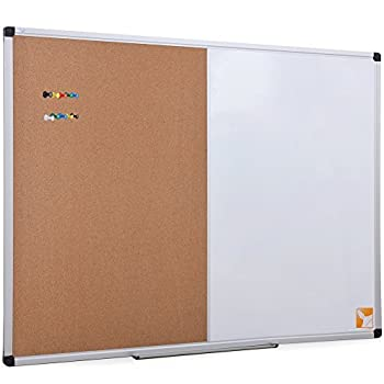 XBoard Magnetic whiteboard 36 x 24 - Combo Whiteboard Dry Erase Board/Cork Board 36 x 24 Magnetic White Board + Corkboard with Aluminum Frame 10 Colorful Push Pins & Marker Tray Included