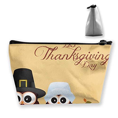 Trousse de maquillage en forme de trapèze Motif chouette Happy Thanksgiving Travel Sac de rangement pour téléphone