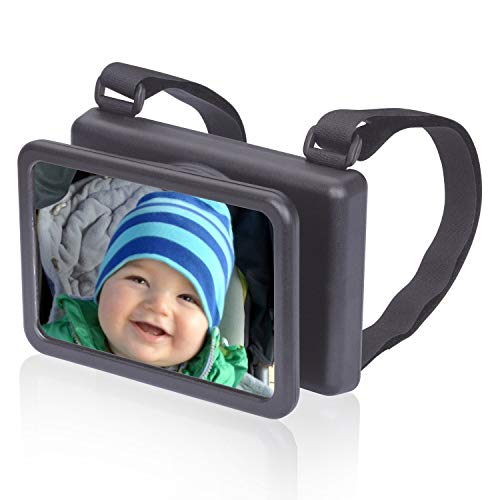 Wicked Chili Baby Mirror Easy View - Rétroviseur pour Rétroviseur supplémentaire pour siège de bébé (fabriqué en Allemagne, pivotant, inclinable 140 x 88 mm), Noir