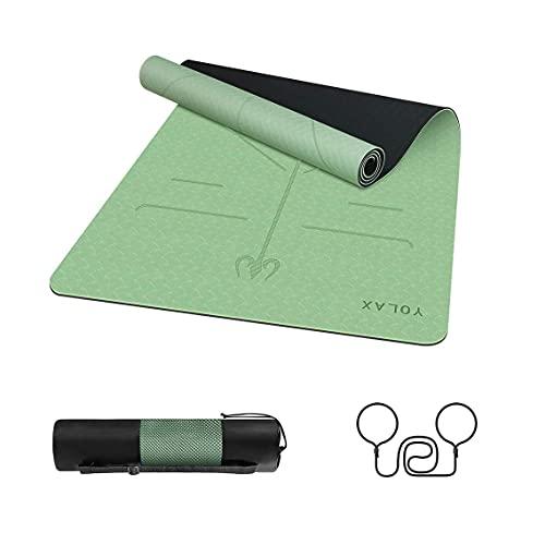 Esterilla Yoga Colchoneta de Yoga Antideslizante con Material ecológico TPE con líneas corporales Yoga Mat diseñado para Entrenamiento y Entrenamiento físico (Verde y Negro)