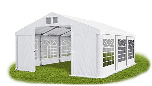 Das Company Partyzelt 6x8m wasserdicht weiß-grün Zelt 560g/m² PVC Plane ganzjährig Gartenzelt Winter ISD