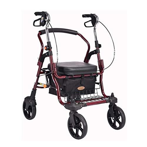 Z-SEAT Andador con Ruedas, Andador con Ruedas, ayudas para la Movilidad con 4 Ruedas y Asiento Grande para Personas Mayores, Ruedas de 8 Pulgadas, Cesta y Frenos