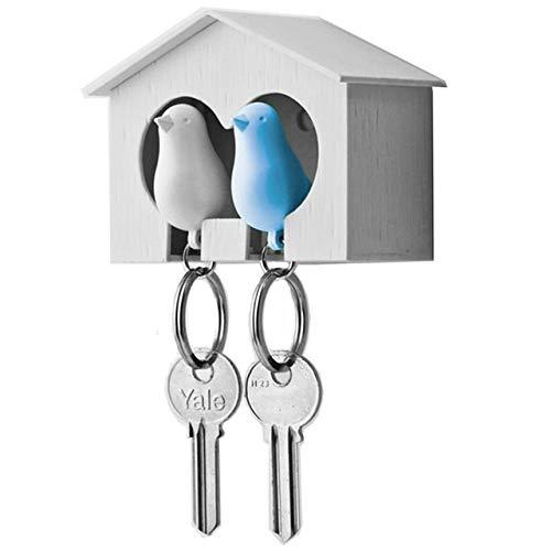 YLG Titular de la Llave de los pájaros Gorrión Silbato Cadena de la casa Montaje en la Pared Hook Hogar Hanger Rack (Color : Azul, Size : Gratis)