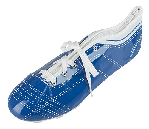 Idena 20083 Faulenzer schooletui in schoenvorm met veters, perfect voor school, universiteit en kantoor, ca. 23 x 7,5 x 8 cm, blauw-wit, bont