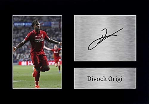 HWC Trading Divock Origi Liverpool Gifts - Autógrafo impreso para fans y partidarios (tamaño A4), diseño de Liverpool