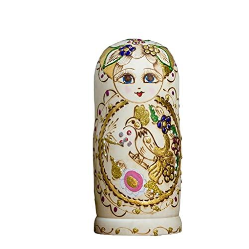 Muñecas de anidación rusas muñecas de anidación rusas 7 piezas de estilo chino flor de madera Matryoshka hecho a mano para niños adultos cualquier día especial juguetes hechos a mano
