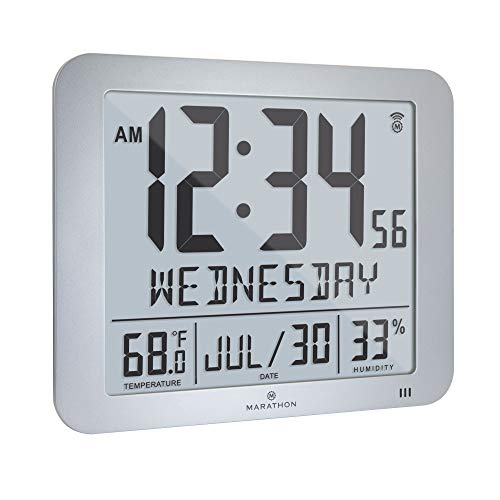 "Marathon Slim Atomic Full Calendar Wall Clock with Large 3.25"" Digits, Indoor Temperature and Humidity - Batteries Included - CL030067GG (Graphite Grey)"