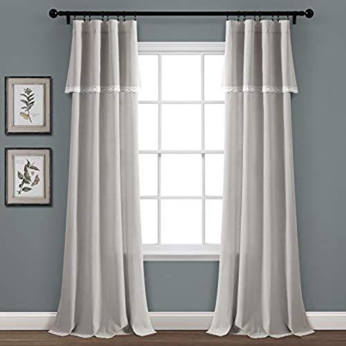 "Lush Decor, Light Gray Linen Lace Window Curtain Panel Pair, 84"" x 38"""