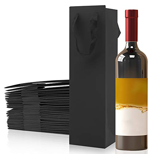 25 Stücke Flaschen Wein Träger Tote Halter, Schwarzes Papier Weiß und Rotwein Geschenk Flaschenträger mit Griffen