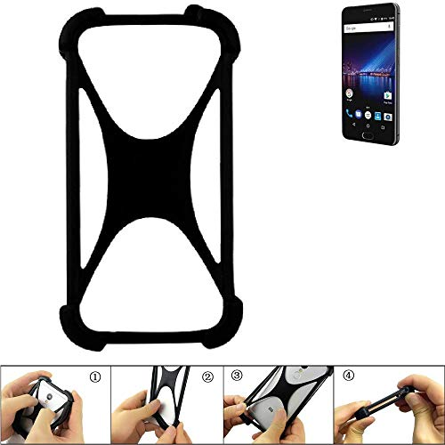 K-S-Trade® Handyhülle Für Phicomm Passion 4 Schutz Hülle Silikon Bumper Cover Case Silikoncase TPU Softcase Schutzhülle Smartphone Stoßschutz, Schwarz (1x),
