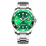 Herrenuhren Damenuhren Kalender Submariner Armbanduhren für Damen und Herren Edelstahlband, Grün