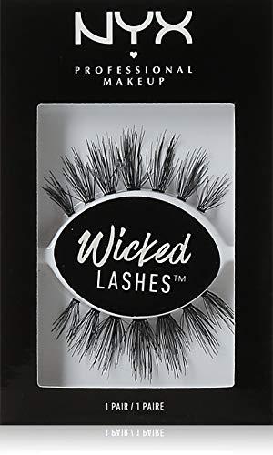 NYX Professional Makeup Wicked Lashes, Falsche Wimpern mit künstlichen Fasern, Wiederverwendbar, Dramatischer Look, Stil: Doe Eyes, 1 Paar
