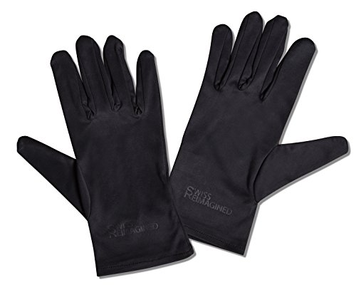 SWISS REIMAGINED Soft Microfiber Gloves for Coin Jewelry Silver Watch Inspection Gloves, Breathable & Stretchable, Medium (Black)