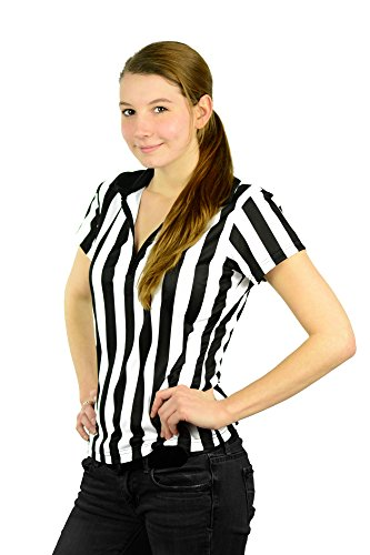 Mato & Hash Damen Schiedsrichter-T-Shirt mit 1/4-Reißverschluss, kurzärmelig Gr. Small, schwarz / weiß