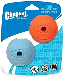 "Chuckit! Whistler Ball - 2pk, Assorted Orange & Blue, Medium 2.5"""