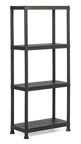 Keter Plus Kunststoffregal 60/4, schwarz, 60 x 30 x 135 cm