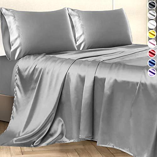 Satin Sheets Queen Size (4 Pieces, 8 Colors), Silky Satin Sheet Set -Satin Bed Set with 2 Pillowcase, Satin Fitted Sheet - Grey Satin Sheets, Satin Bed Sheets Queen Set, Satin Bedding Set