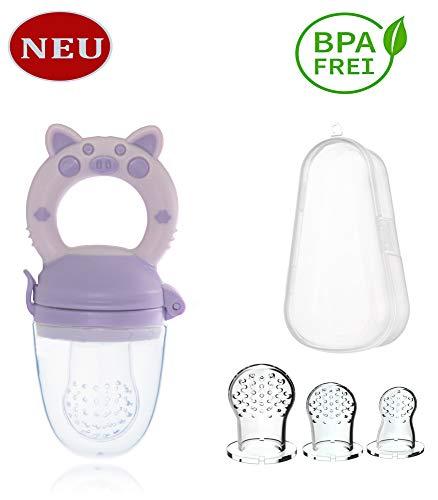 Fruchtsauger/Fruchtschnuller, BPA-freier Silikon Sauger, Baby Obst,Gemüse und Beikost Schnuller. Mit 3 Silikon Größen (S, M, L) und einem Aufbewahrungsbox. von WorldTrend