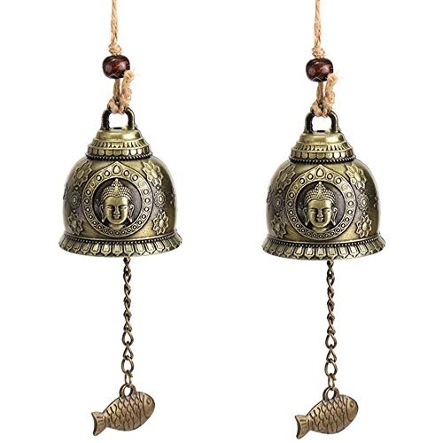 MOPOIN Fengshui Glocke, 2 Stück Viel Glück segnen Messing Zinklegierung Windchime Chinesisches traditionelles Feng Shui Windspiel Hausgarten hängendes Ornament, Buddha