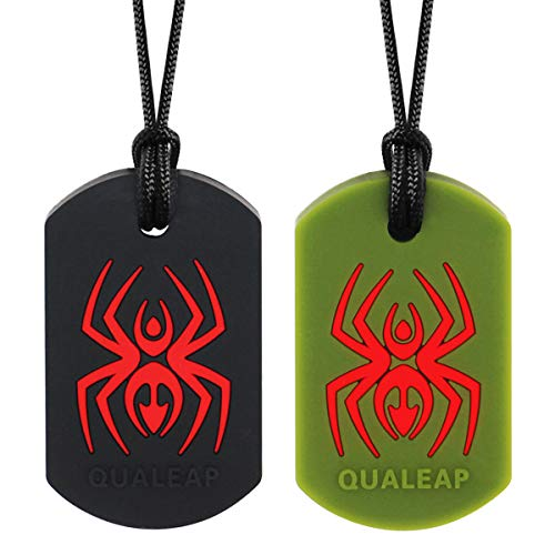 Spider Chew Necklace for Kids, Boys or Girls (2 Pack) - Sensory Oral Motor Aids Teether Toys for Autism, ADHD, Baby Nursing or Special Needs- Reduces Chewing Biting Fidgeting for Kids Adult Chewers