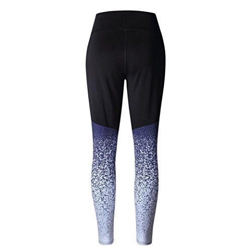 Women Sports Yoga Leggings Workout High Waist Running Pants Fitness Elastic Leggings (L, Blue)