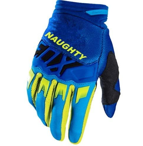 DJLHNNew Naughty Fox Pink Blue Gloves Motocicleta Riding Dirt Bike Mountain Ciclismo Motocicleta DIRTPAW Race Gloves - Azul-Amarillo, M
