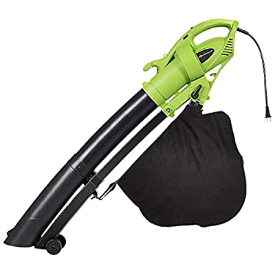 Goplus 3-in-1 Electric Leaf Blower/Vacuum/Mulcher Lightweight Corded Kit with Disposable Collector for Clearing Dust, Leaves & Snow, 170MPH, 7.5AMP (Green)
