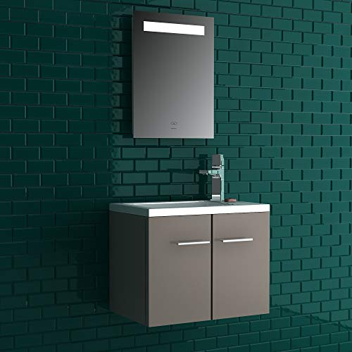 Alpenberger Komplett Badmöbel- Set 50 x 33 cm | Waschbecken mit integriertem Überlauf aus Mineralguss + Unterschrank mit Softclose Funktion + Spiegel mit LED-Beleuchtung und Touch-Schalter (Taupe)