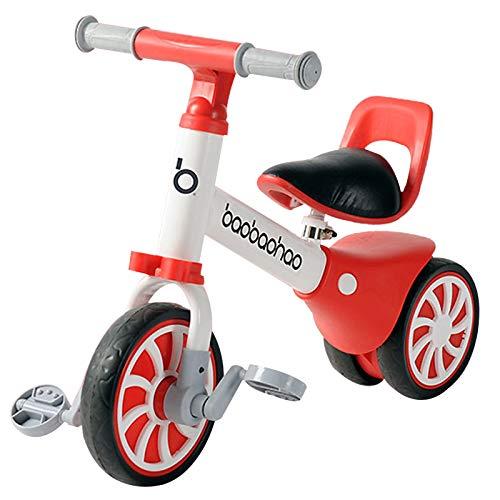 Zeroall 2 in 1 Laufrad Kinder Lauflernrad mit Abnehmbaren Pedalen, Kinder Lauflernhilfe Kinderlaufrad Kinderrad für 12-36 Monate Alte Jungen/Mädchen Reiten Drinnen|Draußen(Rot)