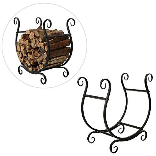 MyGift Scrollwork Firewood Rack, Freestanding Fireside Log Storage Holder, Black