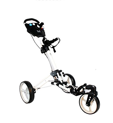 Yorrx Golftrolley SL Pro 7 HAMMA Plus Ausstattung, Golfwagen mit innovativem 360° Spin Vorderrad (weiß) inkl. Regenschirmhalter & Tees …