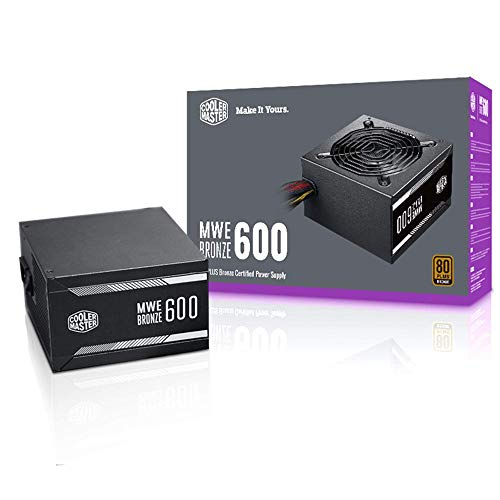 Cooler Master MWE Bronze 600 80+ Bronze 600W PSU with 120mm Silencio FB Fan, Sleeved Cables