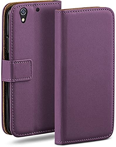 moex Klapphülle kompatibel mit HTC Desire 626G Hülle klappbar, Handyhülle mit Kartenfach, 360 Grad Flip Hülle, Vegan Leder Handytasche, Lila