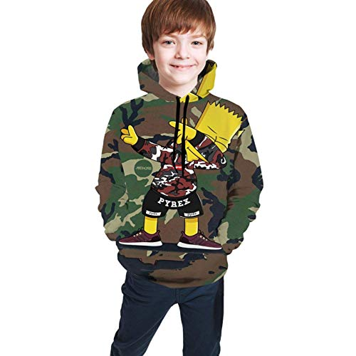 Youth Children's Hoodie Sweatshirt Long Sleeve Hooded camo 3D Anime Novelty Pyrex bart Simpsons Pullover with Pocket for Teen Boys Girls Kids