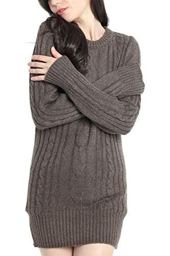 LinyXin Cashmere Damen Winter Kaschmir Langarm Rundhals Pullover aus Wolle Kleid Gestrickter Sweater Pullover Kleid (M / 38-40, Braun)