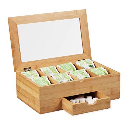 Relaxdays Caja Té, Ventana en la Tapa y 8 Compartimentos, Organizador Infusiones, con Cajón, 11x33x20 cm, Bambú, Marrón