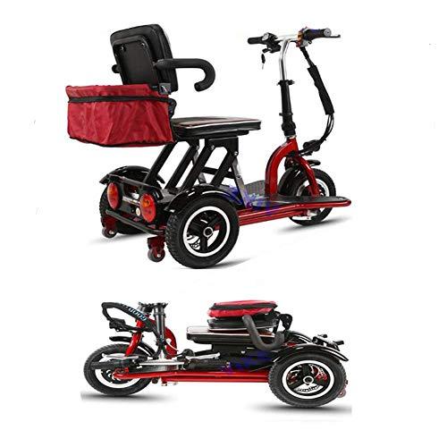 LLPDD Scooter, Miniatura eléctrica Plegable Triciclo Adecuado para los Ancianos o discapacitados...
