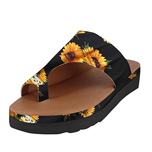 LLGG Hombre Baño Sandalias de Punta,Slope y Set Toe Cool Zapatillas, Zapatos de Gran tamaño de Viaje de Playa-Girasol_35,Zapatillas de baño para el hogar