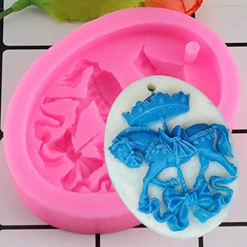 HGFJG 3D Carousel Horse Wax Mold Cake Silicone Mold Cookies Chocolate Mould Baking Decorating Tools Bakeware