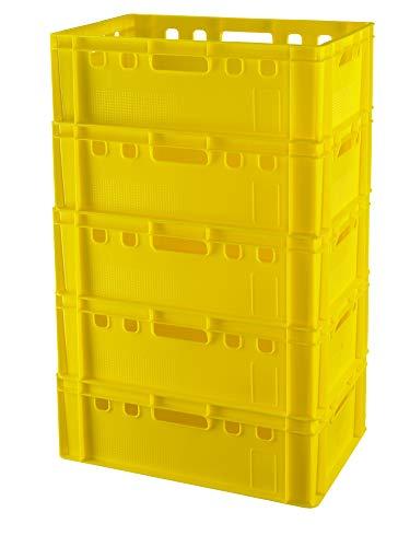 5 Stück E2 Kisten 60x40x20 Fleischkiste Lagerkiste Metzgerkiste in gelb